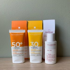 New Sealed 3 Clarins Face Sunscreens SPF 50 & 30